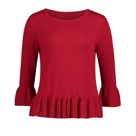 Betty Barclay Frilled Jumper Red  - Click to view a larger image