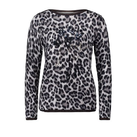 Betty Barclay Animal Print Jumper With Rhinestones Taupe  - Click to view a larger image