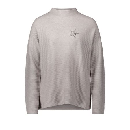 Betty Barclay Ribbed Star Print Jumper Beige  - Click to view a larger image