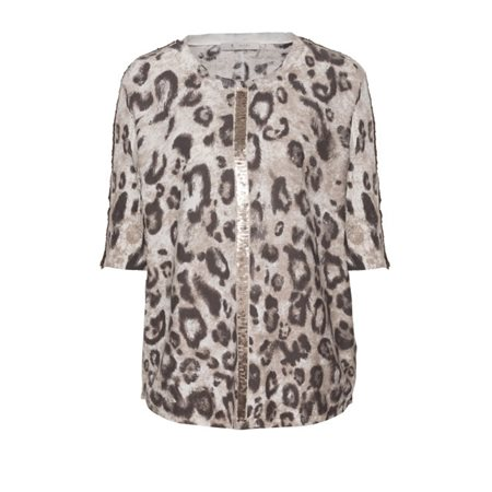 Monari Animal Print Knitted Pullover Bronze  - Click to view a larger image