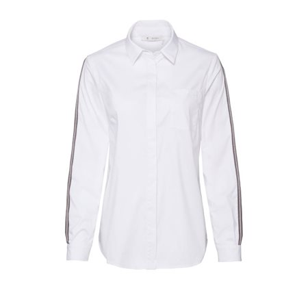 Monari Shirt With Sporty Striped Sleeves White  - Click to view a larger image