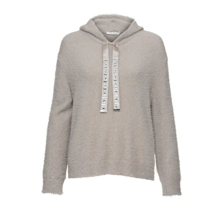 Monari Soft Knit Hooded Pullover Grey  - Click to view a larger image