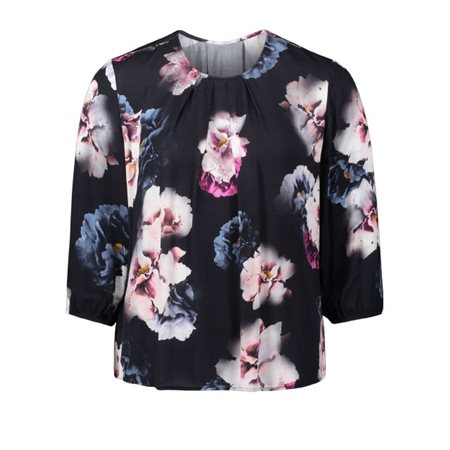 Betty & Co Botanical Print Blouse Navy  - Click to view a larger image