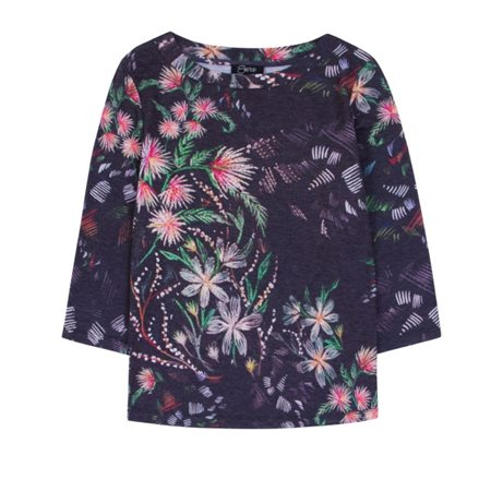 Emreco Botanical Print Top Black  - Click to view a larger image