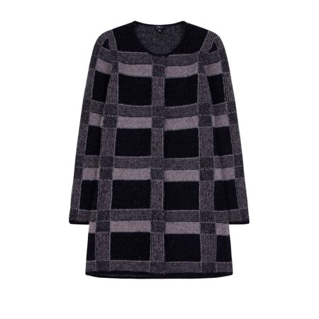 Emreco Check Knitted Cardigan Black  - Click to view a larger image