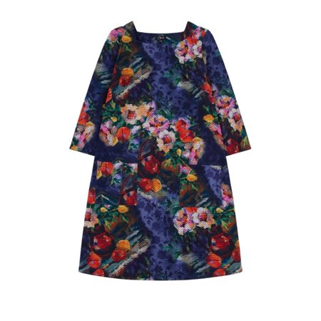 Emreco Autumnal Print Dress Multi-Colour  - Click to view a larger image
