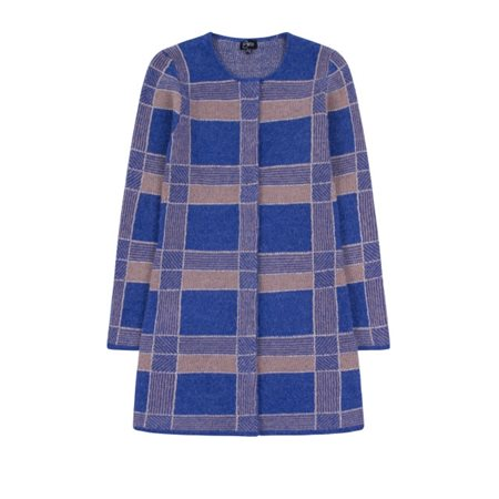 Emreco Check Knitted Cardigan Blue  - Click to view a larger image