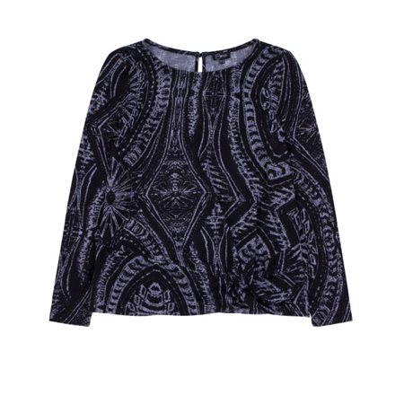 Emreco Geometric Print Top With Twist Detail Black  - Click to view a larger image