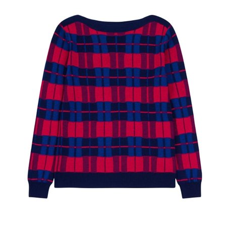 Emreco Checked Knitted Pullover Navy  - Click to view a larger image
