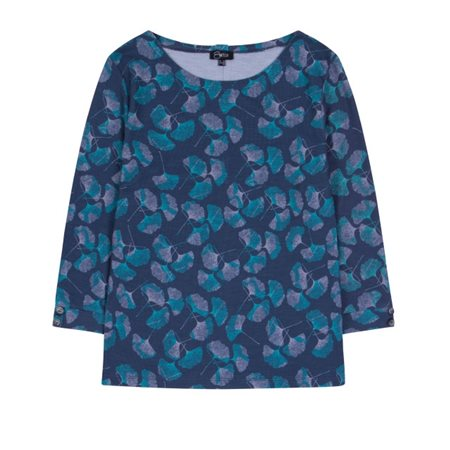 Emreco Floral Print Top Slate And Jade  - Click to view a larger image