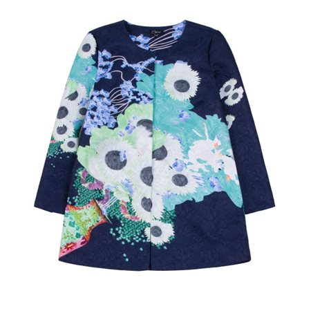 Emreco Oriental Floral Print Coat Navy  - Click to view a larger image