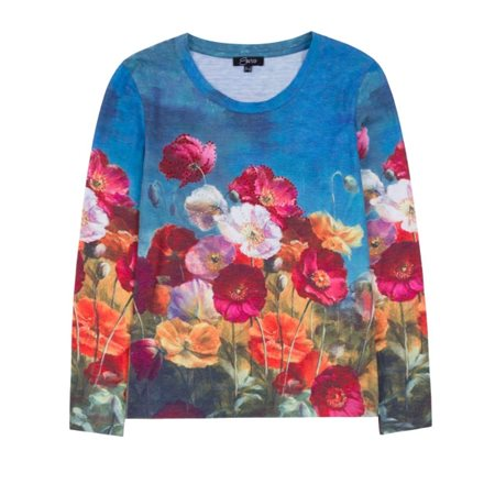 Emreco Poppy Print Top Blue  - Click to view a larger image