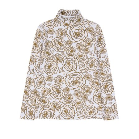 Emreco Floral Patterned Polo Neck Top Olive  - Click to view a larger image