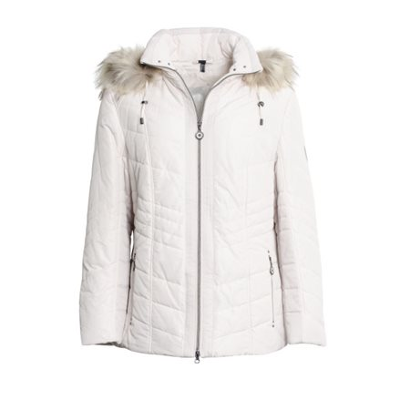 Lebek Quilted Coat With Fur Hood Cream  - Click to view a larger image