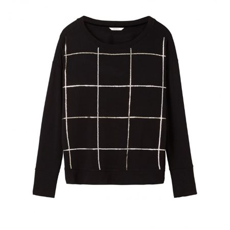 Sandwich Clothing Sequin Grid Pattern Jumper Black  - Click to view a larger image