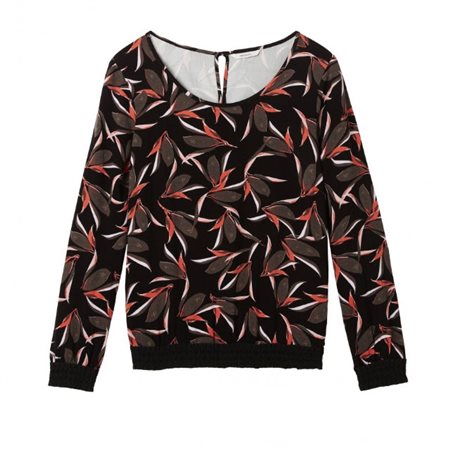Sandwich Clothing Leaf Print Top With Smock Detail Black  - Click to view a larger image