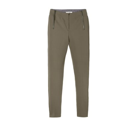 Sandwich Clothing Trousers With Leather Details Khaki  - Click to view a larger image