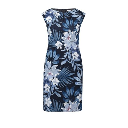 Betty & Co Botanical Print Shift Dress Navy  - Click to view a larger image