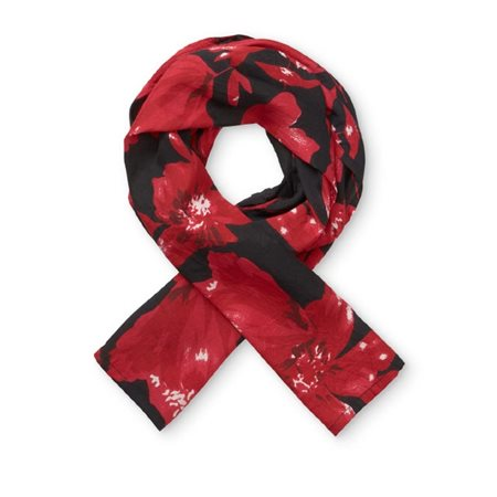 Masai Floral Along Scarf Red  - Click to view a larger image