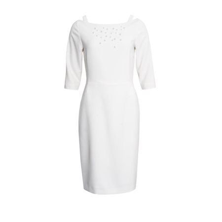Fee G Pearl Embellished Dress Cream  - Click to view a larger image
