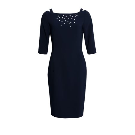Fee G Pearl Embellished Dress Navy  - Click to view a larger image