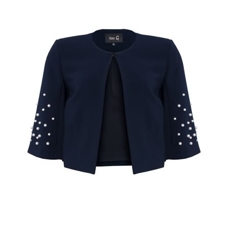 Fee G Pearl Box Jacket Navy  - Click to view a larger image