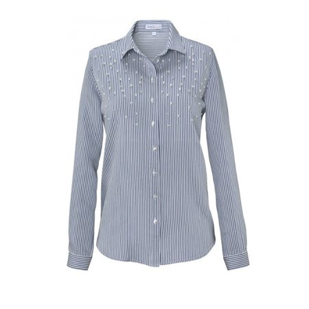 Erfo Striped Pear Blouse Blue  - Click to view a larger image
