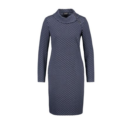 Taifun Jacquard Dress With Stretch Navy  - Click to view a larger image