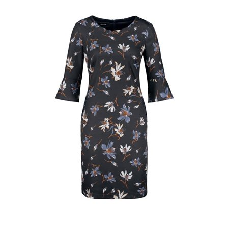 Taifun Floral Patterned Dress Navy  - Click to view a larger image