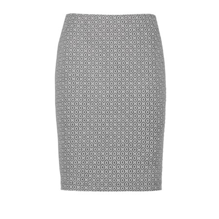 Taifun Stretch Skirt With A Jacquard Pattern Grey  - Click to view a larger image