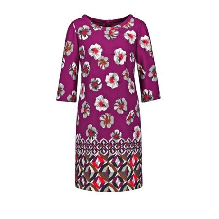 Taifun Floral Print Dress Elderberry  - Click to view a larger image