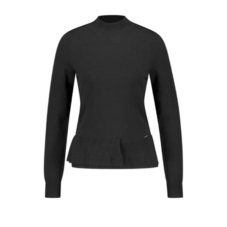 Taifun Ruffle Pullover Black  - Click to view a larger image