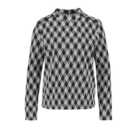 Taifun Check Patterned Pullover Black  - Click to view a larger image