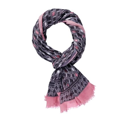 Taifun Diamond Pattern Scarf Black  - Click to view a larger image