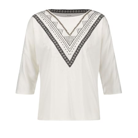 Taifun Ethnic Print Top Off-White  - Click to view a larger image
