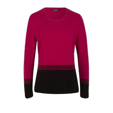 Olsen Block Stripe Jumper Raspberry  - Click to view a larger image