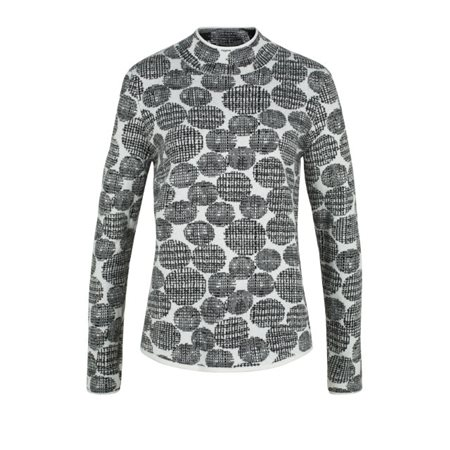 Olsen Sweater With Modern Dot Motif White  - Click to view a larger image