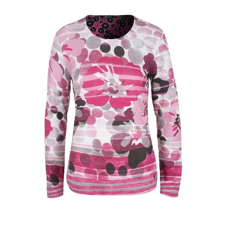 Olsen Floral And Dot Patterned Top Pink  - Click to view a larger image