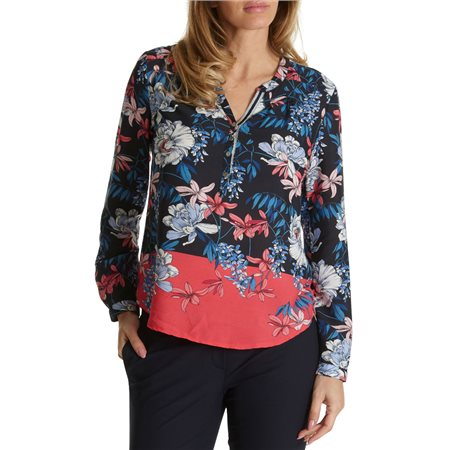 Betty & Co Floral Print Blouse Navy  - Click to view a larger image