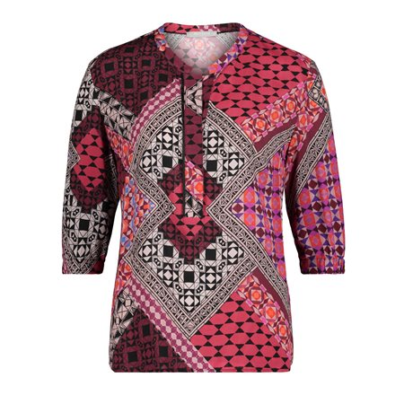Betty & Co Ethnic Print Blouse Red  - Click to view a larger image