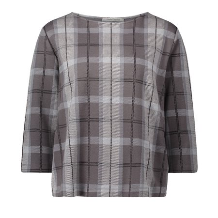Betty Barclay Checked Top Grey  - Click to view a larger image