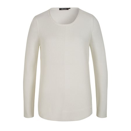 Olsen Ribbed Jumper White  - Click to view a larger image