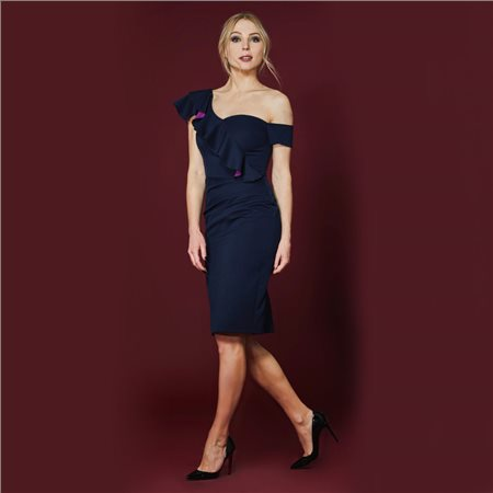 Mellaris Shoulder Dress With Frill Navy  - Click to view a larger image