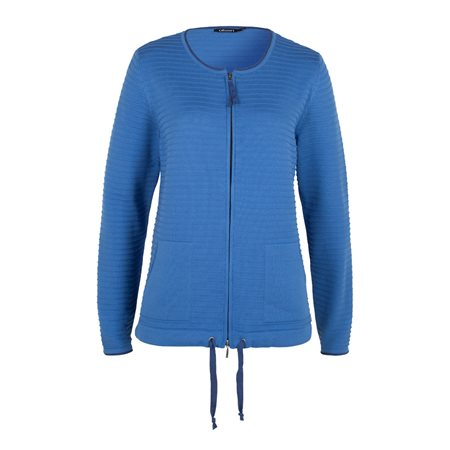 Olsen Ribbed Zip Cardigan Blue  - Click to view a larger image