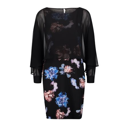 Vera Mont Floral Dress With Sheer Overlay Navy  - Click to view a larger image