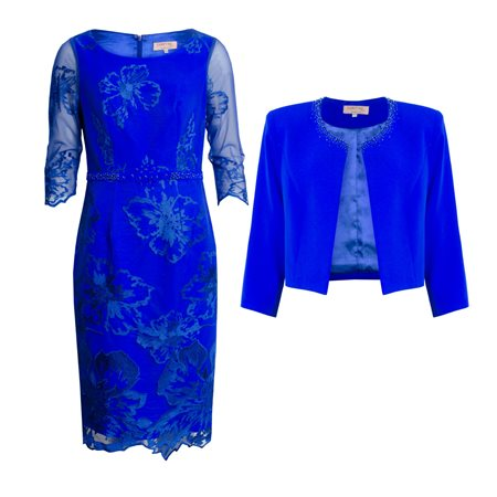 Cabotine Floral Lace Overlay Dress And Jacket Blue  - Click to view a larger image