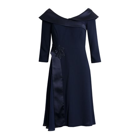 Zeila Dress With Shawl Navy  - Click to view a larger image