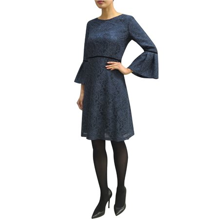 Fee G Dress With Bell Sleeve Navy  - Click to view a larger image