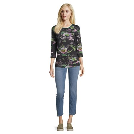 Betty Barclay Floral Print Top Black  - Click to view a larger image
