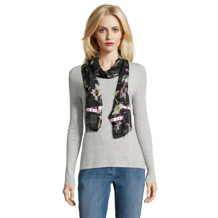 Betty Barclay Floral Print Scarf Black  - Click to view a larger image